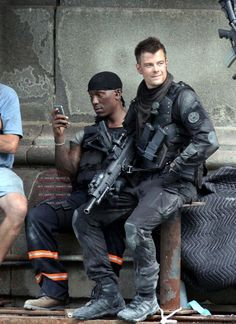 'Transformers 3' on set with Tyrese Gibson and Josh Duhamel, 2011