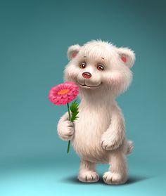 Фото, автор Soloveika на Яндекс.Фотках Animated Polar Bear, Polar Bear Images, Love Heart Images, Cute Images, Bear Toy, Teddy Bear, Create Your Own Card, Mascot Design, Cute Texts
