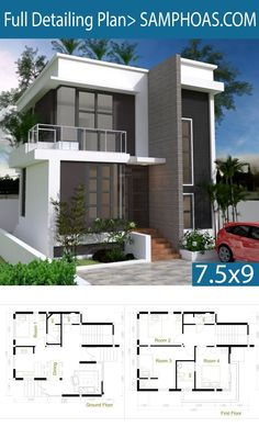 4 Bedroom Home Design Plan - SamPhoas Plan - House Architecture 2 Storey House Design, Duplex House Design, Duplex House Plans, Simple House Design, Bungalow House Plans, House Front Design, Dream House Plans, Small House Plans, Modern House Design