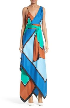 Diane von Furstenberg Scarf Hem Silk Maxi Dress available at #Nordstrom