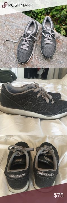"""Madewell x Saucony """"grey flannel"""" sneakers Dark gray flannel material sneakers with light gray laces. SUPER comfy, recently repaired the plastic on the very front, good support. Madewell x Saucony Shoes Sneakers"""