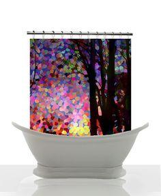 Artistic Shower Curtain - Sunrise, Sunset , trees. candy pink, peach , art, decor, home