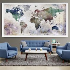 Large World Map Watercolor Push Pin, Push pin travel wolrd map wall art, Extra…
