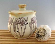 Ceramic Garlic Pot - Garlic Keeper Jar -   Hand Thrown Stoneware Pottery - Ready to Ship