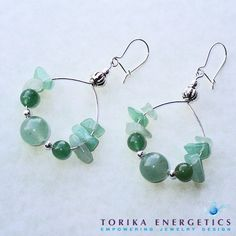 Emerald Green Quartz and Aventurine Sterling Silver Hoop Earrings - Natural Gemstones Handmade Jewelry on Etsy, $25.00