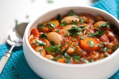 Greek Vegetarian: Gigantes (Giant Bean Stew) and a story about my dad, the ice cream man Greek Recipes, Soup Recipes, Vegan Recipes, Cooking Recipes, Cooking Time, Greek Dishes, Bean Stew, Frijoles, Healthy Eating Tips