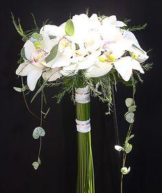 wedding bouquet# white orchid# ramo de novia de orquídea blanca#