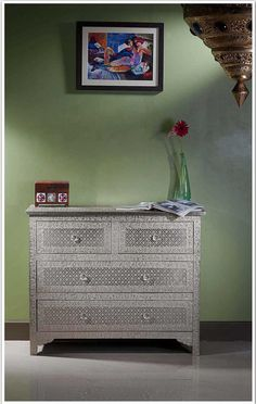 Buy Online Embossed White Metal Chest Of Drawer Dresser Sideboard Bureaus |