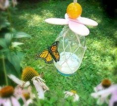 décoration de jardin extérieur- mangeoire pour papillons en bocal et macramé