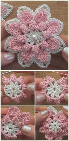 Watch The Video Splendid Crochet a Puff Flower Ideas. Wonderful Crochet a Puff Flower Ideas. Crochet Flower Tutorial, Crochet Flower Patterns, Crochet Designs, Crochet Flowers, Diy Crafts Knitting, Diy Crafts Crochet, Crochet Projects, Crochet Motifs, Crochet Squares