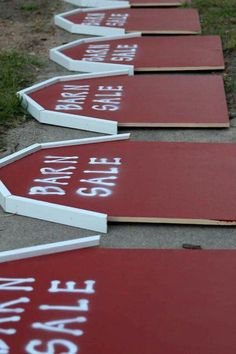 Good idea for DIY Barn Sale Garage Sale Signs! Instead of wood, You could easily cut the barn shape out of coroplast plastic sign sheets or poster board. Barn Sale   Somewhere In Time Vintage   Pinterest Garage Sale Signs, Pop Up Market, Barn Parties, Barn Renovation, Country Shop, Cowboy Theme, Farm Party, Repurposed Items, For Sale Sign