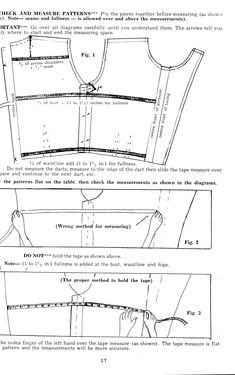 Checking and measuring sewing pattern pieces to ensure that they will fit, hopefully eliminating toiles.   Image is from the book 'Sew and Save' by Madeleine Hunt (published 1953 link: http://tanitisis.wordpress.com/2011/02/07/oooh-a-goodie/)