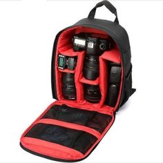 This waterproof bag will fit essential photography equipment for your journey. Product Features: Stylish backpack with color lining, compatible with most DSLR cameras; Soft interior Purple/Red/Green/Orange lining; Holds DSLR camera body with attached lens and 1-2 additional lenses and accessories; Tripod attachment system; Adjustable, padded dividers allow you to customize the camera compartment;... * More details can be found by clicking on the image.