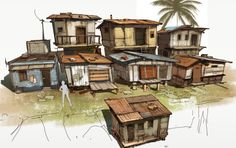 Silvio Aebischer Bg Design, Prop Design, Environment Sketch, Environment Design, Small Buildings, Modern Buildings, Building Concept, Wargaming Terrain, Animation Background