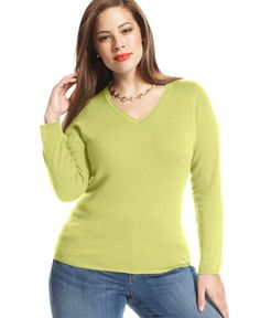 Charter Club Plus Size Cashmere V-Neck Sweater
