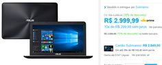 Notebook Asus X555UB-BRA-XX274T Intel Core 6 i7 8GB 1TB LED 156  Placa de Vìdeo GeForce 940M 2Gb << R$ 269999 >>