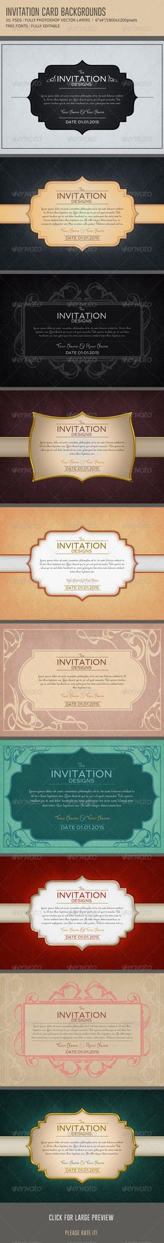 Invitation card backgrounds col2 font logo and fonts invitation card backgrounds graphicriver 10 unique invitation card backgrounds 6x4 300dpi fully stopboris Gallery