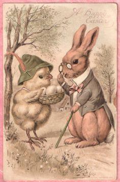 Dressed Bunny Rabbit Encounters Alpine Chick Selling Easter Eggs 1910 Postcard | eBay