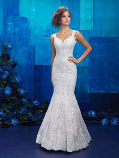 Sweetheart neckline lace applique mermaid style bridal gown