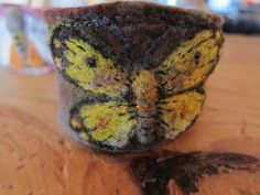 Needle Felted Butterfly cuff bracelet. $79.00, via Etsy.