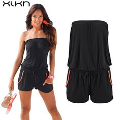 065f0efff6a4 2017 Rompers Causal Summer Jumpsuits Pockets Women Sexy Rompers Loose Plus  Size Jumpsuits Sashes Tube Top