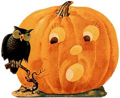 great vintage printable images for halloween. I painted this exact picture on a window painting contest and won Retro Halloween, Cute Halloween Drawings, Halloween Fotos, Vintage Halloween Images, Halloween Owl, Vintage Halloween Decorations, Halloween Prints, Halloween Pictures, Halloween Pumpkins