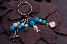 Blue Beaded keychain  Blue Key Ring  Ocean by CharmingThreadwares, £5.50