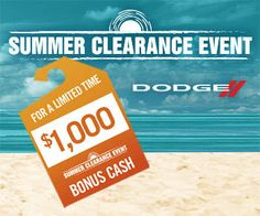 We've made owning a bold new 2015 Dodge vehicle a whole lot easier with our Summer Clearance $1,000 Select Retail Bonus Cash offer.  The offer only lasts from August 4 – August 31, 2015 so see Wetzel Chrysler Jeep Dodge today for the details!