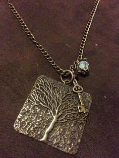 Large Tree Pendent with skeleton key & crystal bead. By Renewed Root.