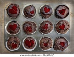 Cakes with heart - stock photo