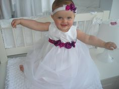 christening dress fuchsia