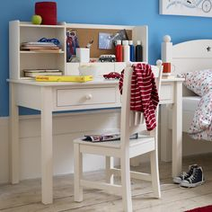 Traditional child friendly style in ivory-white painted poplar. Exclusively designed for Feather & Black Rounded corners and edges Accompanies our Noah Desk Please note, our Noah Desk Chair must be assembled Assembly Instructions