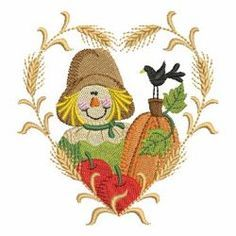 Fall Scarecrow 2 03(Lg) machine embroidery designs