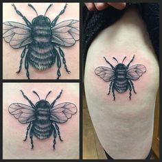 Realistic bee by Joanne #devilsowntattoo #devilsown #leicester #tattoo #bee #beetattoo #realistictattoo #blackandgreytattoo #thightattoo