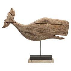 Whale Deco Figurine, Natural