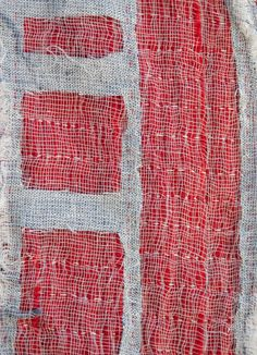 """Detroit Foreclosure Quilt detail, 22"""" x 44"""" Cheesecloth, linen, cotton and quilting thread. SOLD"""