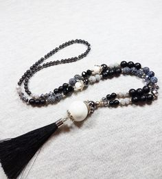 Long black tassel necklace, Agate necklace, Matte black onyx necklace, Dainty necklace, Elegant necklace, Black and white, Crown necklace by GentleColorsJewelry on Etsy