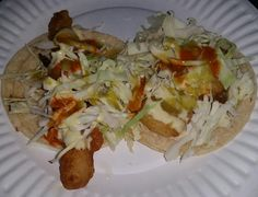 This is an Awesome Street Dinner in the form of a Fish Taco (Left) & Shrimp Taco (Right) from the Tacos La Doña Taco Truck @tacosladona on the South East Corner of Rosemead Blvd. & Duarte Rd. in The East San Gabriel (Unincorporated Los Angeles County Area) Area (The San Gabriel Valley of Los Angeles County) of The City of San Gabriel, California.