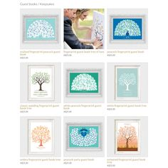 Wedding guest book alternatives. Peacock guest book, fingerprint trees, signature guest books and more.