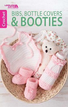 Handmade with love, the quick little projects in this book make adorable shower gifts! http://www.maggiescrochet.com/collections/new/products/bibs-bottle-covers-booties