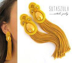 Fall jewelry Trends - Mustard clip on earrings, mustard yellow earrings, mustard soutache earrings, beaded fall jewelry, fall jewelry trends. Yellow Earrings, Tassel Earrings, Clip On Earrings, Women's Earrings, Yellow Jewelry, Silver Jewelry, Fall Jewelry, Tassel Jewelry, Fabric Jewelry