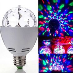 3W E27 RGB LED Crystal Rotating Bulb Lamp Christmas Party Stage Light