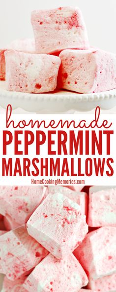 Making homemade candy is so much fun and this Homemade Peppermint Marshmallows recipe is no exception! Serve these homemade marshmallows in a cup of hot chocolate or or enjoy on their own. Fun for Christmas dessert tables or to give as homemade food gift.