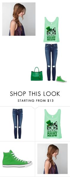 """luck of the irish"" by lizzy-greco ❤ liked on Polyvore featuring AG Adriano Goldschmied, Converse, Prada and American Eagle Outfitters"