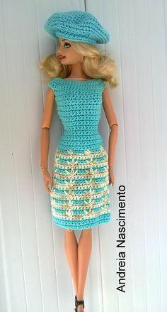 Diy vestido para boneca Barbie feito com ponto pé de galinha - faça você...
