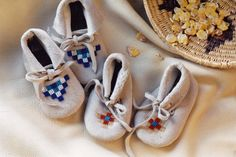 Hand Beaded Leather Baby Moccasins