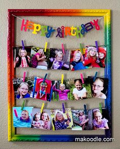 54 Ideas Birthday Board Classroom Diy Pictures For 2019 Art Birthday, Birthday Board, 1st Birthday Parties, Birthday Display, Classroom Birthday, Birthday Ideas, Rainbow Theme, Rainbow Birthday, Clothespin Picture Frames