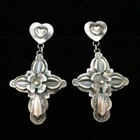 Earrings - National Cowboy Museum - Silver Stamped Crosses with Hearts & Flowers