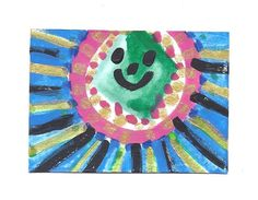 ACEO Original Acrylic Watercolor Gouache Painting Happy Sun Signed US Art | eBay