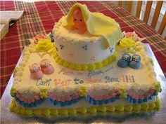 Peek a Boo Baby Shower Cake: Peek a Boo Baby Shower Cake  I made a 9x11 square and a 6 round cake and put the Kewpie doll on top with the fondant blanket over it.